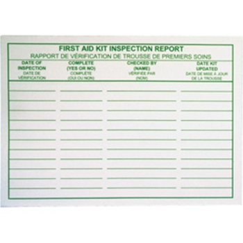 First Aid Kit Inspection Report Cards